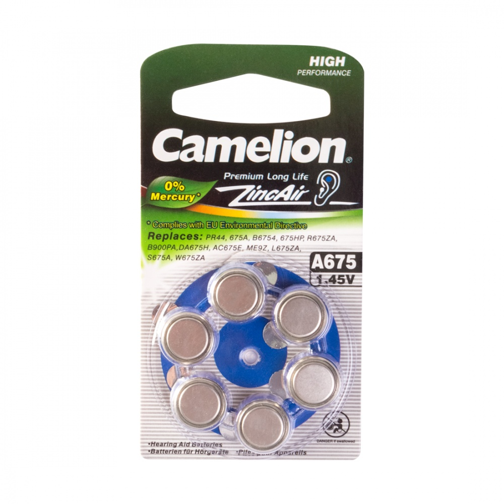 Батарейка CAMELION Zinc Air A675-BP6(0%Hg)